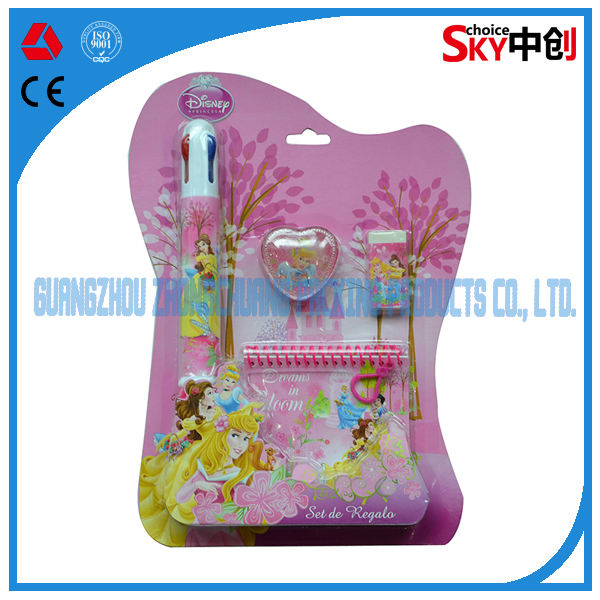 Juego de <span class=keywords><strong>efectos</strong></span> de escritorio con gran lápiz de diversos colores de imagén princesa