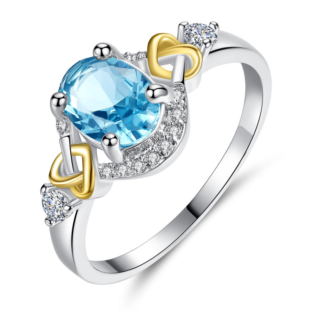 Fashion Rings for Women Blue Stone Crystal Cubic Zircon Rings Female Engagement Jewelry HS-WL-R298