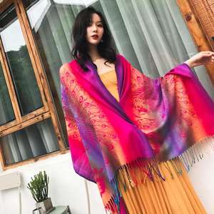 Hot Sale Bohemian Rainbow Peacock Pattern Pashmina Scarf Large Travel Colorful Shawl