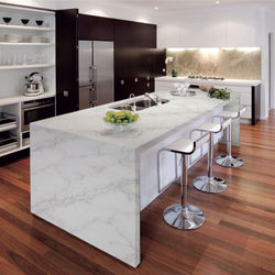 Customized  kitchen artificial stone quartz carrara white countertops