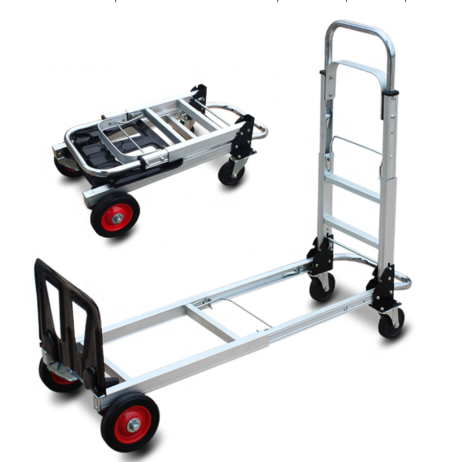 super september new design quick shipping folding telescopic trolley Multifunctional aluminum Flatbed truck luggage cart