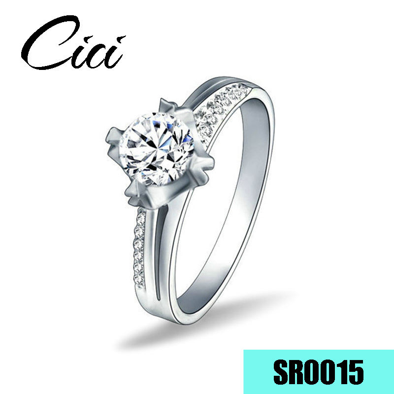 14 k 585 Cincin Emas Putih Semi Gunung Berlian engagement Ring
