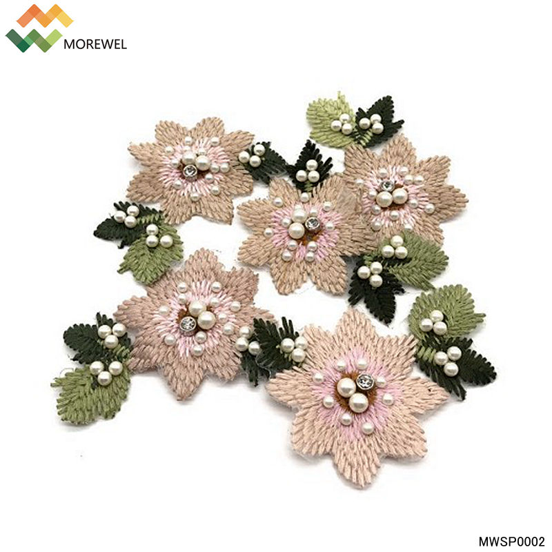 3D Flower knitting embroidered patch pearl beaded applique design