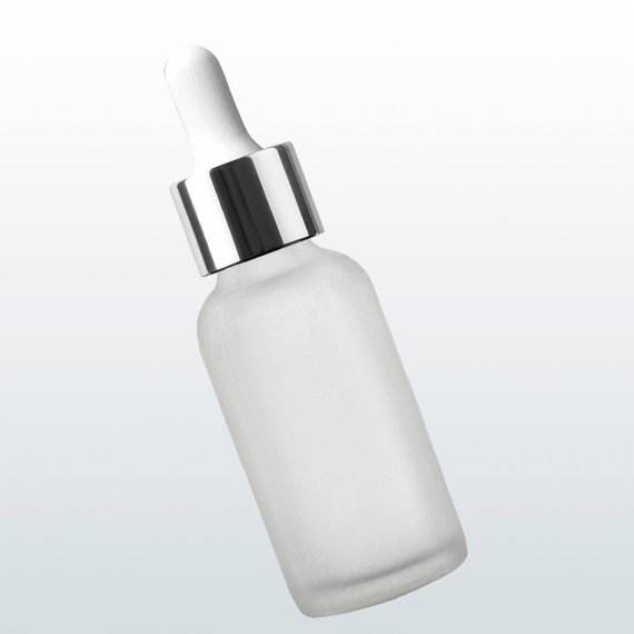 5ML 10ML 15ML 20ML 30ML 50ML White Glass dropper bottle with frosted glass and silver cap