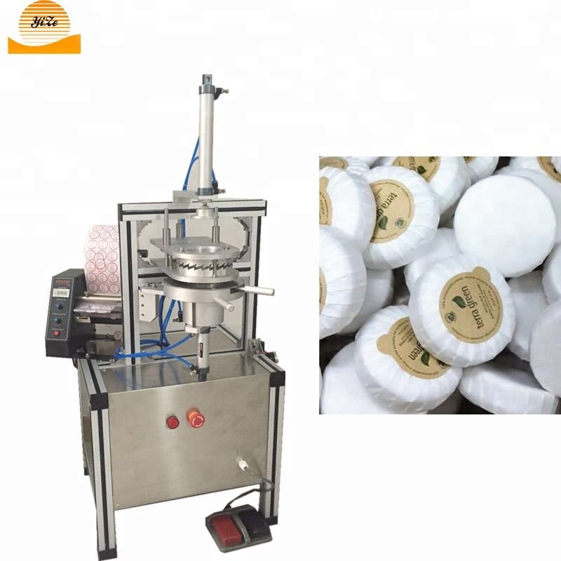 Portable Semi Automatic shrink Wrap Machine Round Hotel Round Toilet Bar Soap Pleat Wrapping Packing Machine