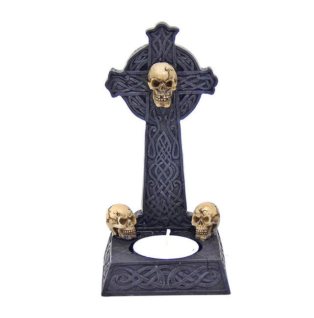Skull with Cross Votive Ritual T-light Candle Holder Figurine Wicca Pagan Witchcraft