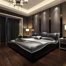 Guangdong bedroom furniture latest designs double soft round bed for hotel project