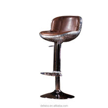 vintage style customized design round shape black leather high end swivel bar chair wooden bar stool
