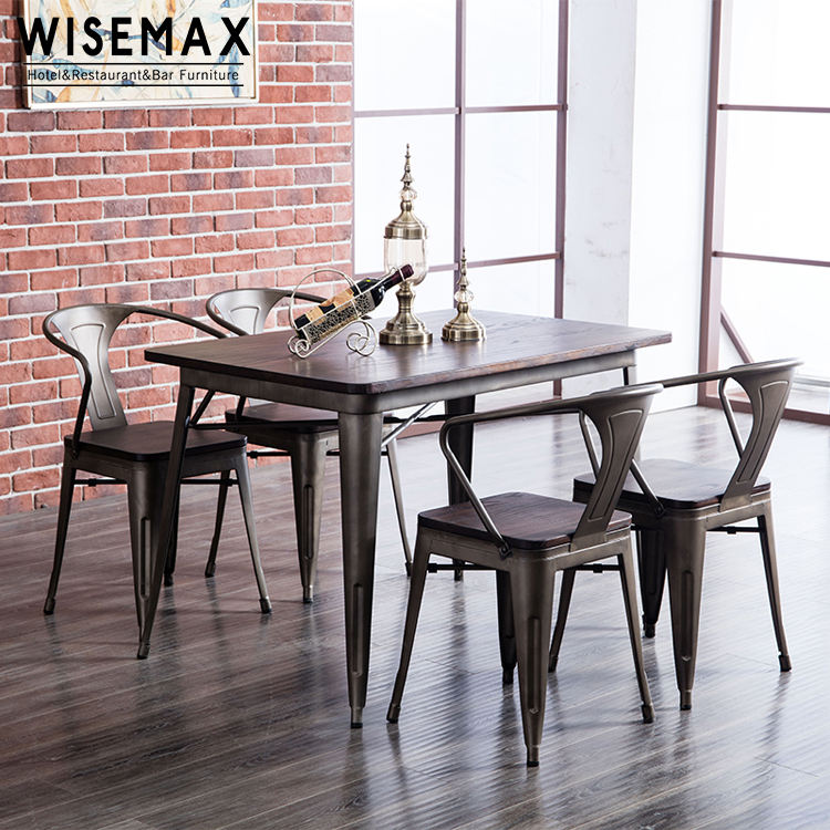 Hight quality metal coating vintage industrial modern dining cafe restaurant dining table set with solid wood top