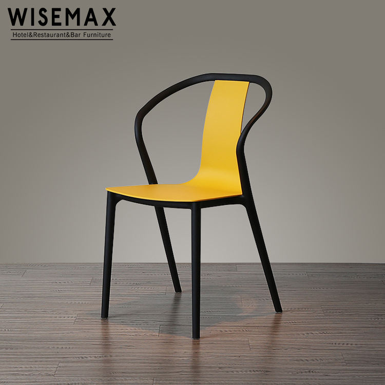 Modern stackable PP plastic dining colored chair for leisure outdoor