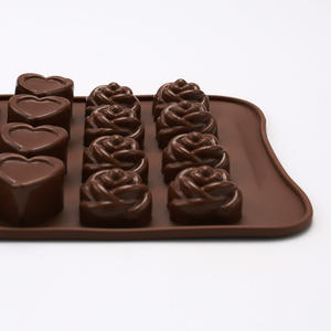 Flower Heart Cube Shape Food Grade Silicone Candy Molds Heat Resisting Chocolate Molds