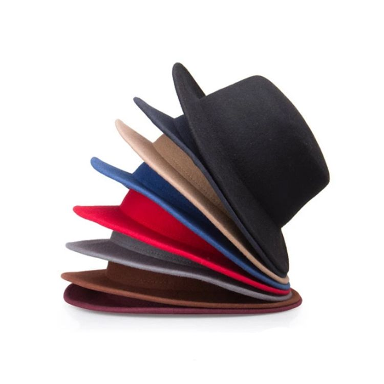 Unique Black Wool Felt Trilby Men Fedora Hat