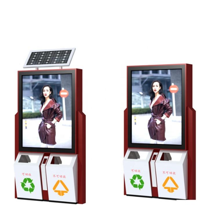 Strada Solar Powered Elettronico Display Advertising Con Cestino