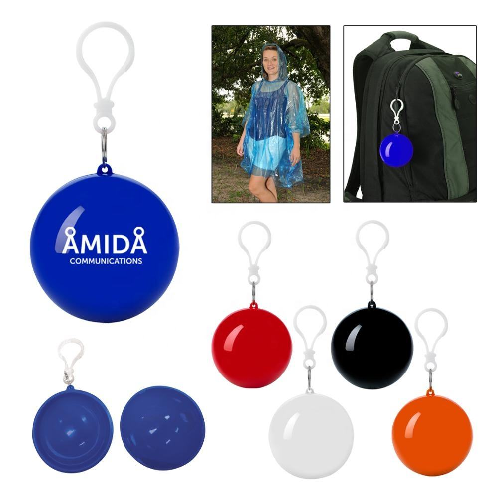 Promotion fashion waterproof transparent colorful PE rain poncho put-in round shaped plastic raincoat ball with hanging hook