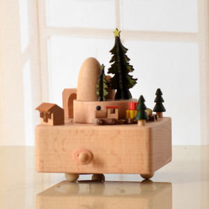 Wooden music box tree merry christmas items