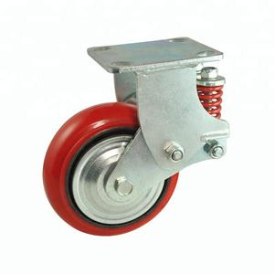Gate Door 4 Inch Shock Absorber TPR Casters Industrial Waterproof With Double Spring Wheel Caster