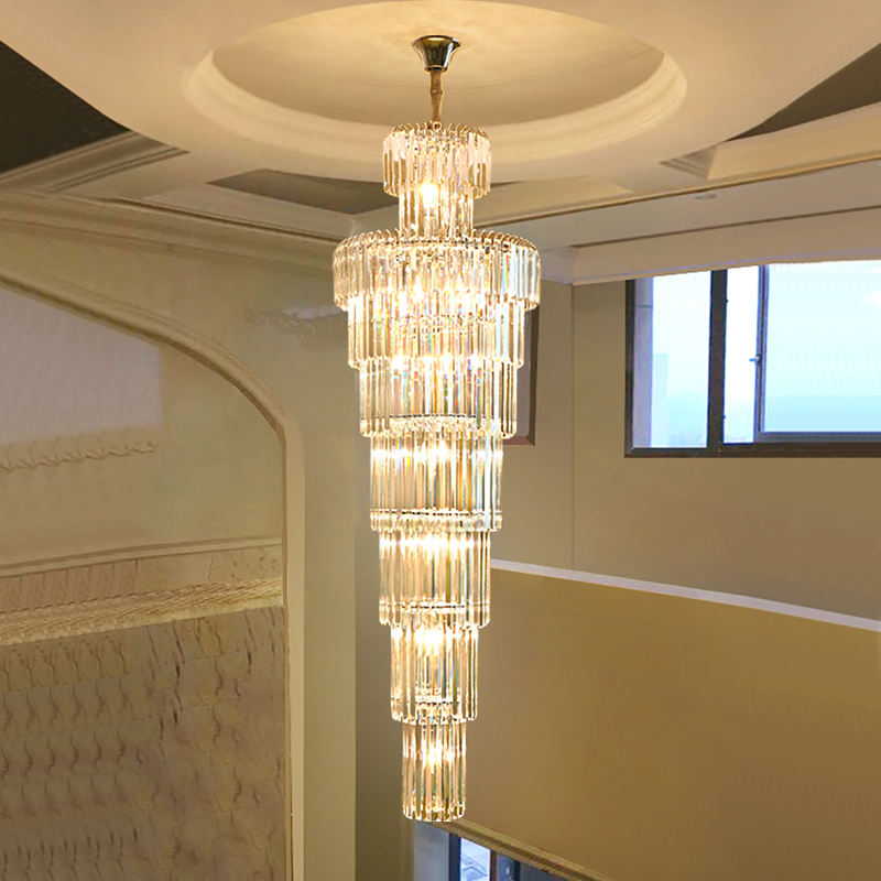 hotel large hang lamp gold k9 custom modern long pendant luxury staircase crystal chandelier light for living room high ceilings