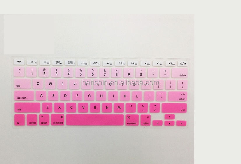 Cheapest Wholesale Gradient Color Custom Silicone Keyboard Cover Skin Protector For Macbook Air/ Pro11