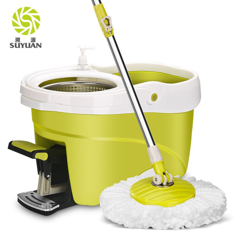 Adjustable Handle Washable Hands-free Go Shop 360 Twist Press Floor Cleaning Wet Foot Mop