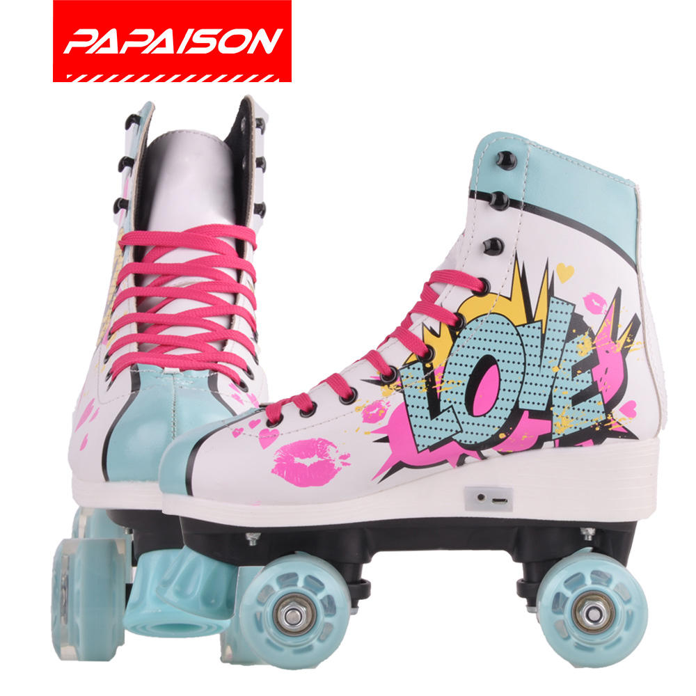 OEM factory 4 four wheel electric light heel roller skates shoes for kids