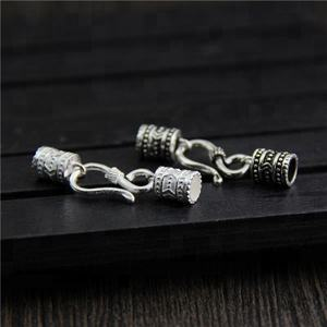 925 Sterling Silver 액세서리 DIY Necklace Bracelet Clasp 버클 Pure Silver 조각 된 Connectors 쵸 Clips