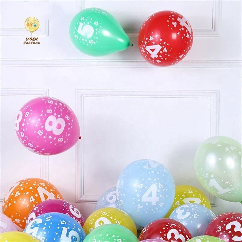12inch latex balloon air nalloon 0-9 number balloon happy birthday party decoration kids boy girl party balloon number