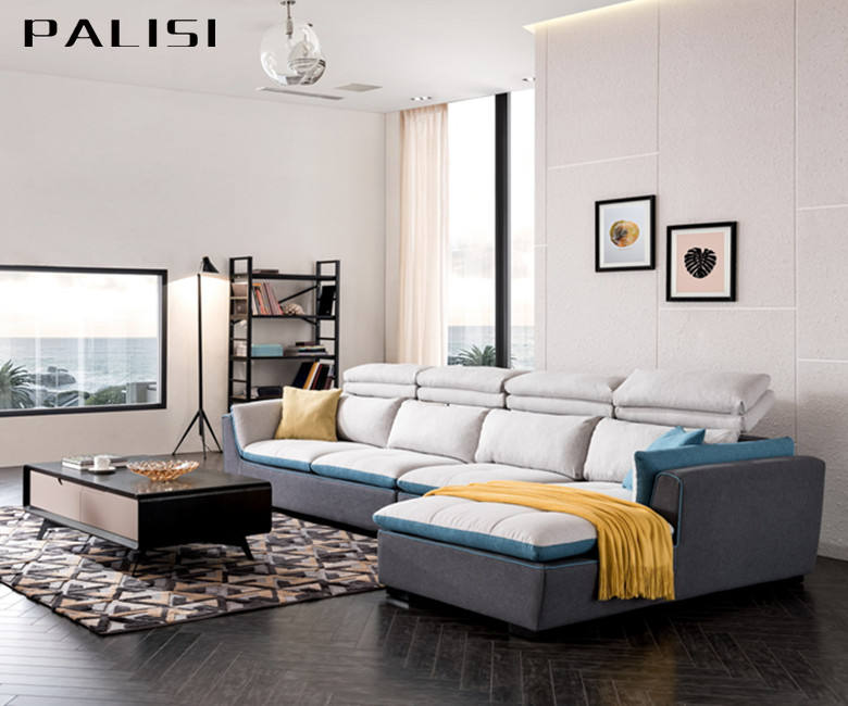 Latest Modern Living Room Sofa Furniture Reclining Lounge Wooden Feet with cushions Fabric material