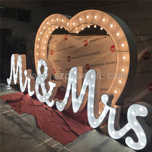 MR & MRS heart centre pieces wedding decoration