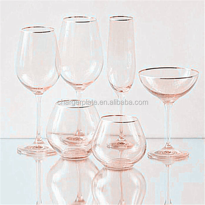 China Factory Gold Rim Pink Red/White Decorative Unique Fancy Wine Glass