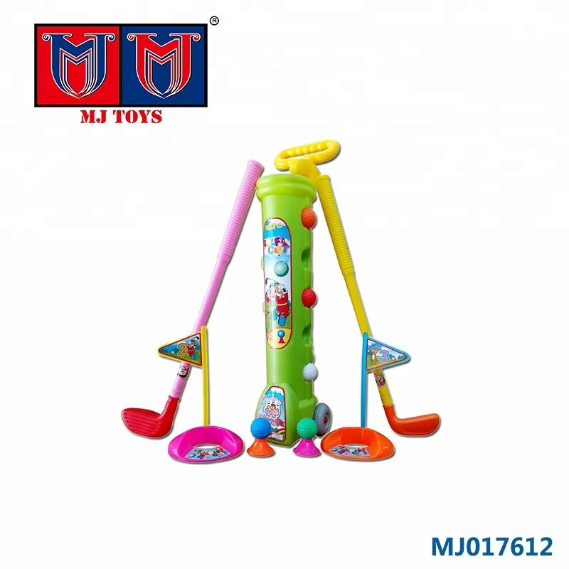 wholesale outdoor plastic kids carts 3pcs golf toy with 5 balls