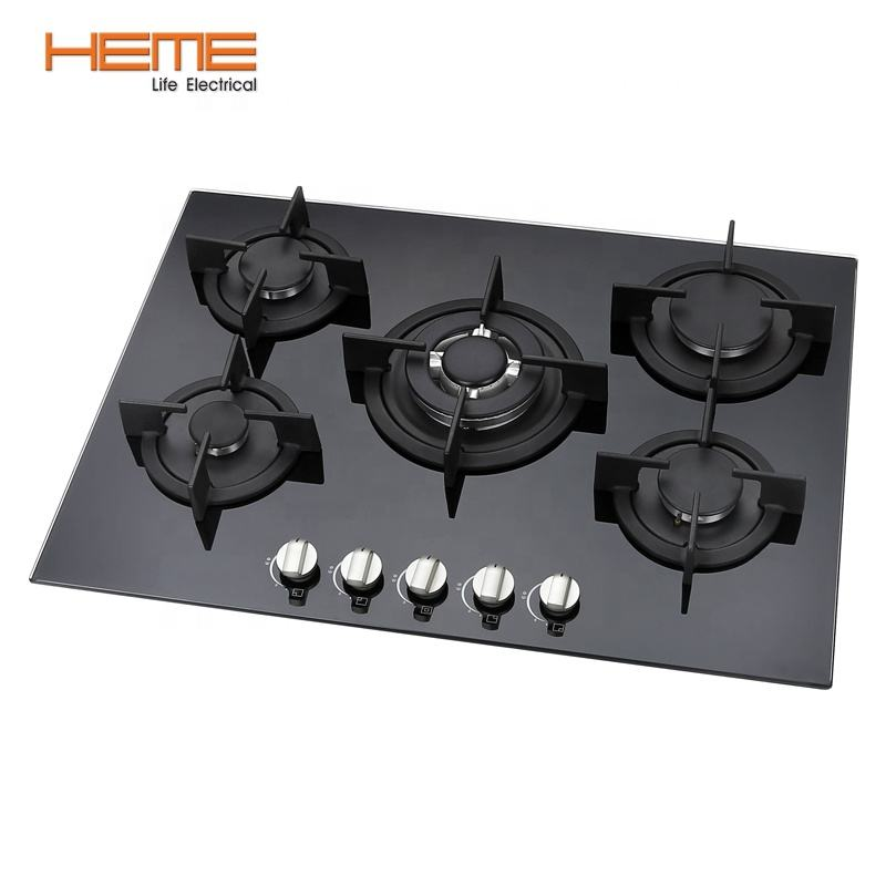 5 Burner built in gas hob glass top cooking gas cooktop with FFD euro gas stove for kitchen (PG7051G-ACB)