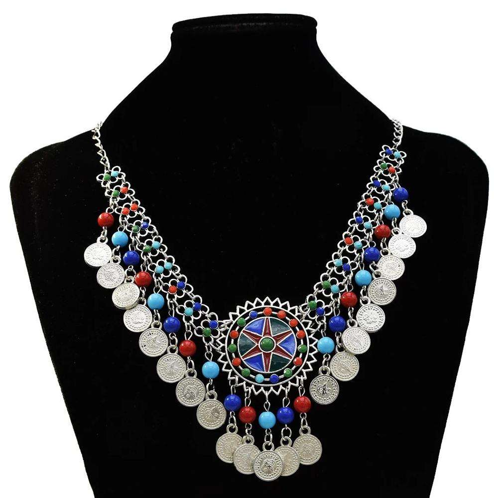 Gypsy silver coin tassel colorful beads tassel choker statement necklace for women tribal jewelry