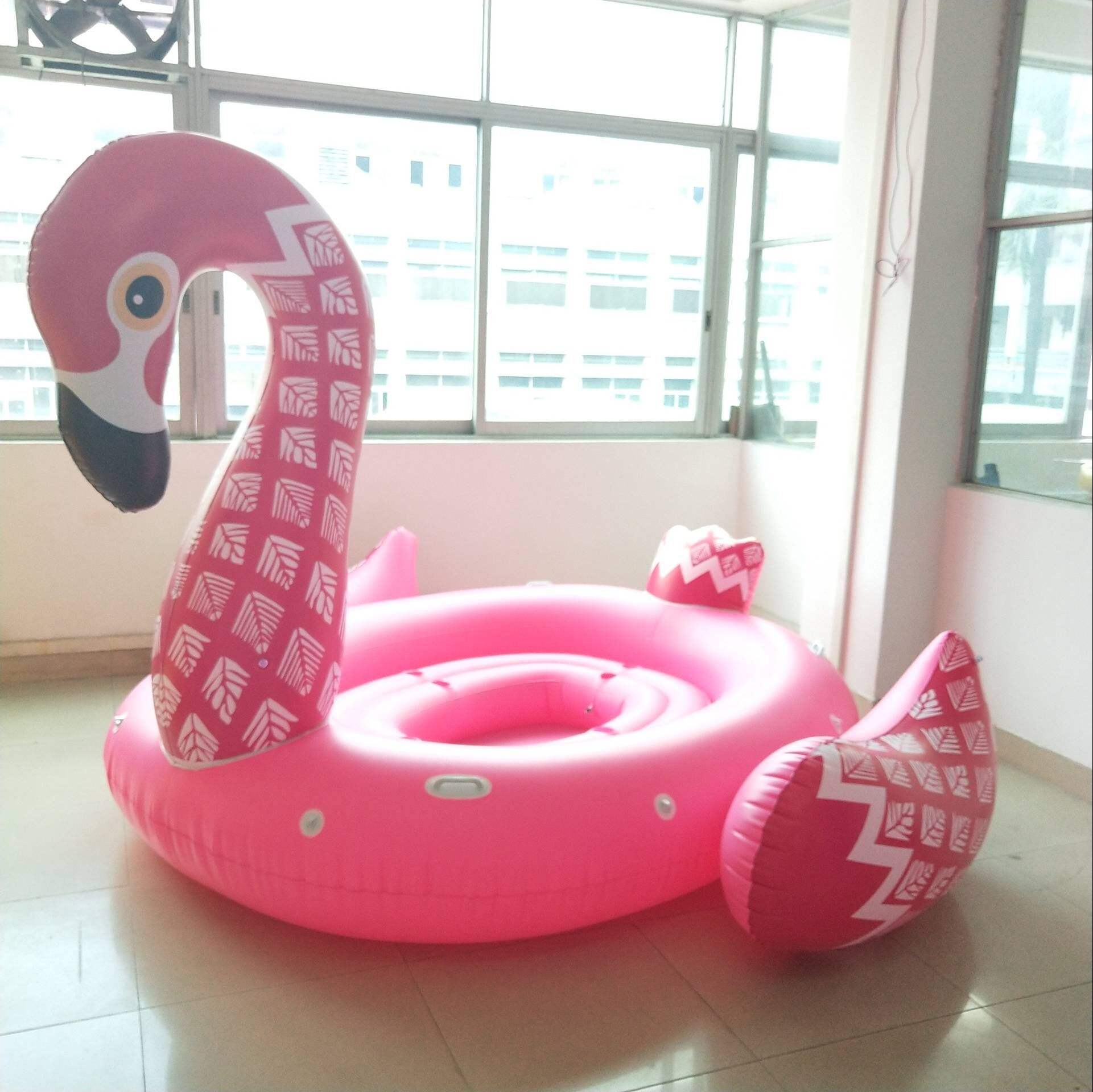 New Big Inflatable 6 Person Flamingo Island Water Float Lounge หลอด 4 คน Inflatable ยูนิคอร์น Floating Island Lake Raft