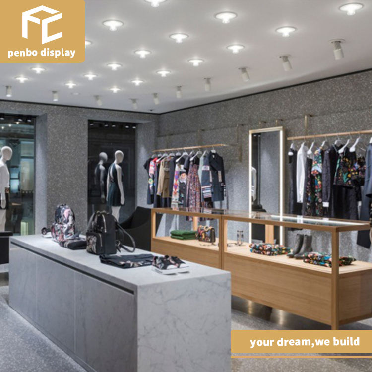 OEM/ODM wooden clothing store shelves and jewelry showcase for fashion glass display showcase