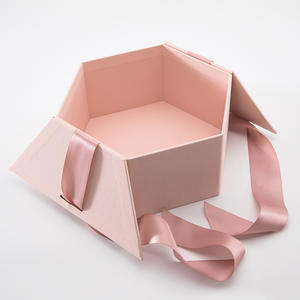 flat pack hexagon paper rigid box hexagon shaped gift box