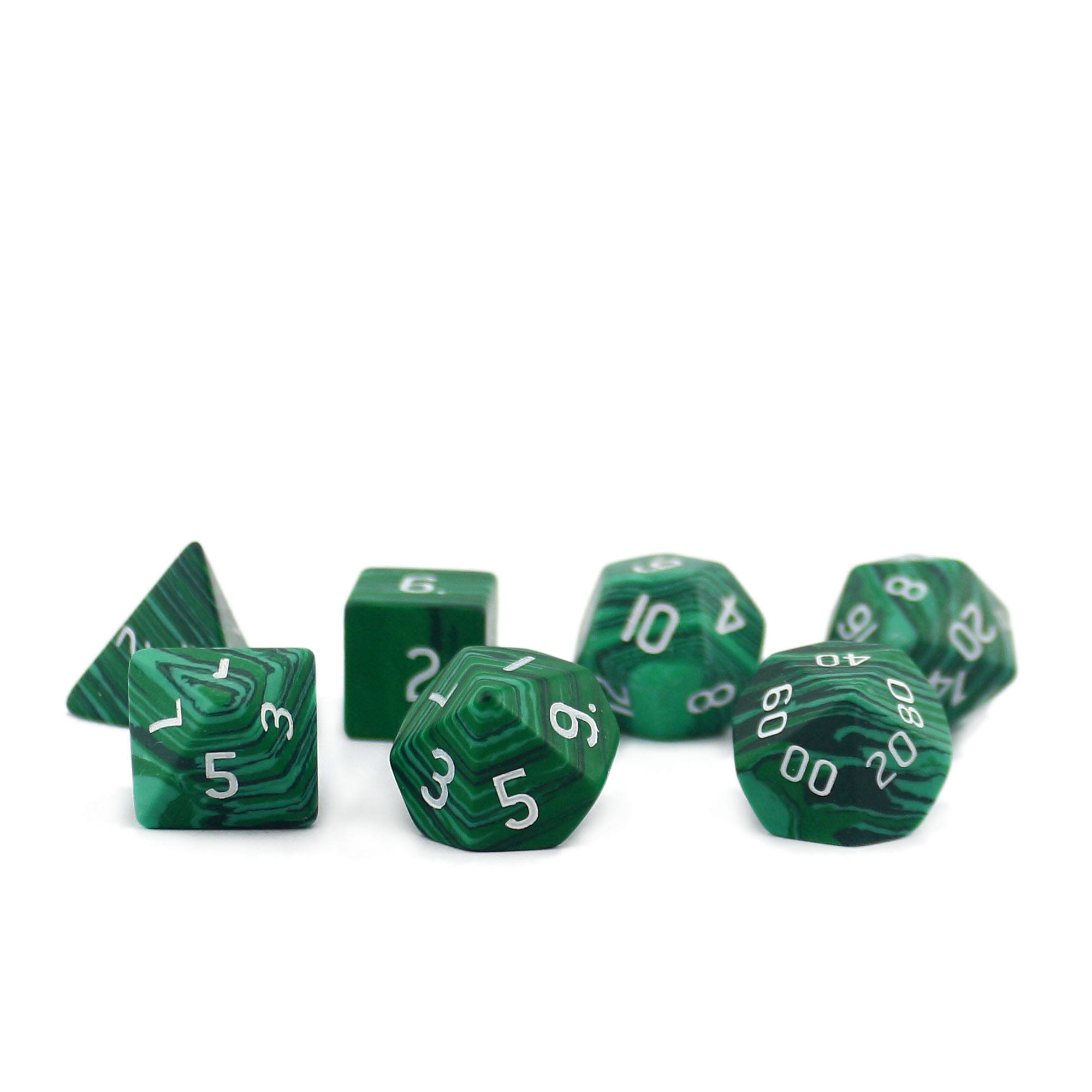 Malachite Gemstone Curved Dice Set RPG Game