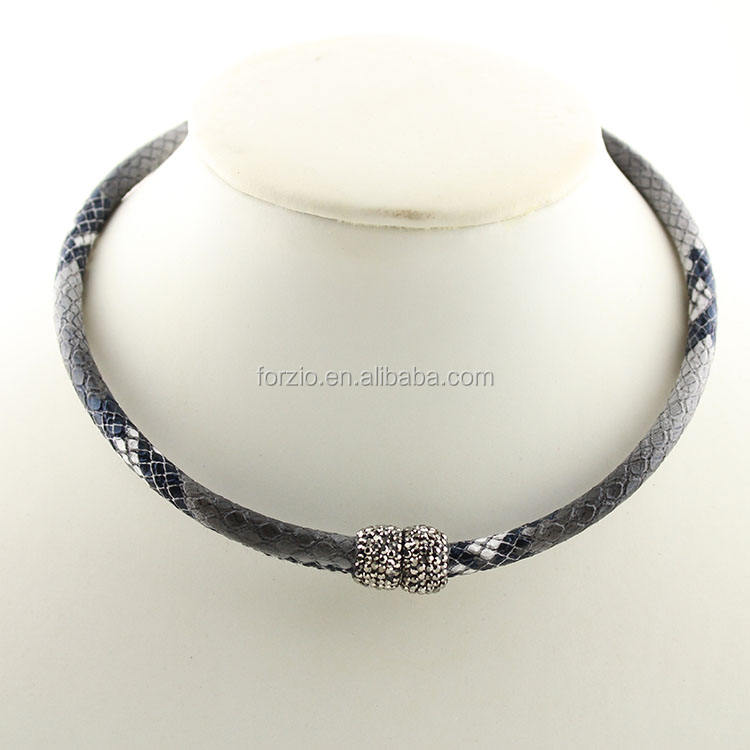 NC1006 Fashion snakeskin leather necklace hematite crystal pave magnetic choker