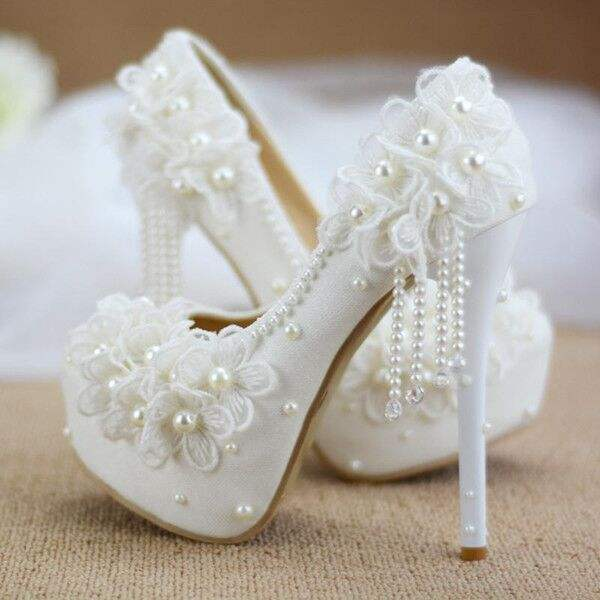 ZH1424X Handmade Round toe shoes for women princess lace flowers super high heel white beading Plus Size bride wedding Shoes