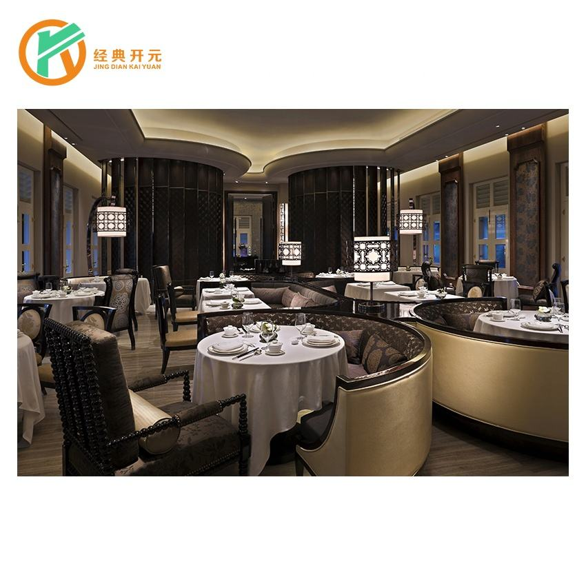 RT-106 High quality modern 5stars hotel wooden restaurant table round booth seating dining room furniture set