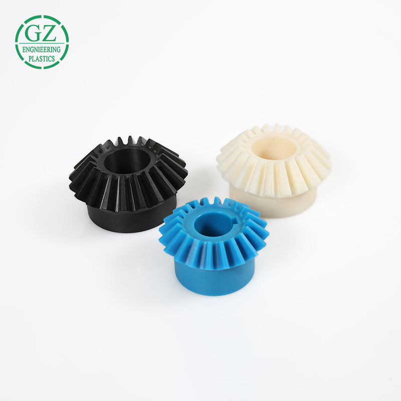 Free sample engineering plastic machining blue shaped nylon bevel gear
