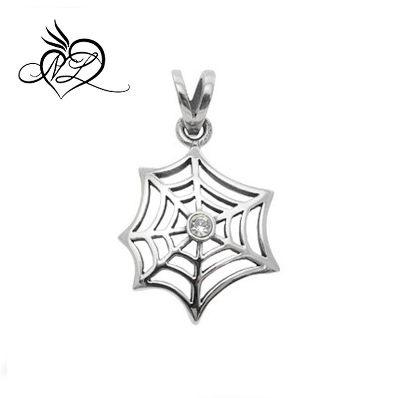 Stainless Steel Spider Web w// Flowers /& CZ Antiqued Necklace