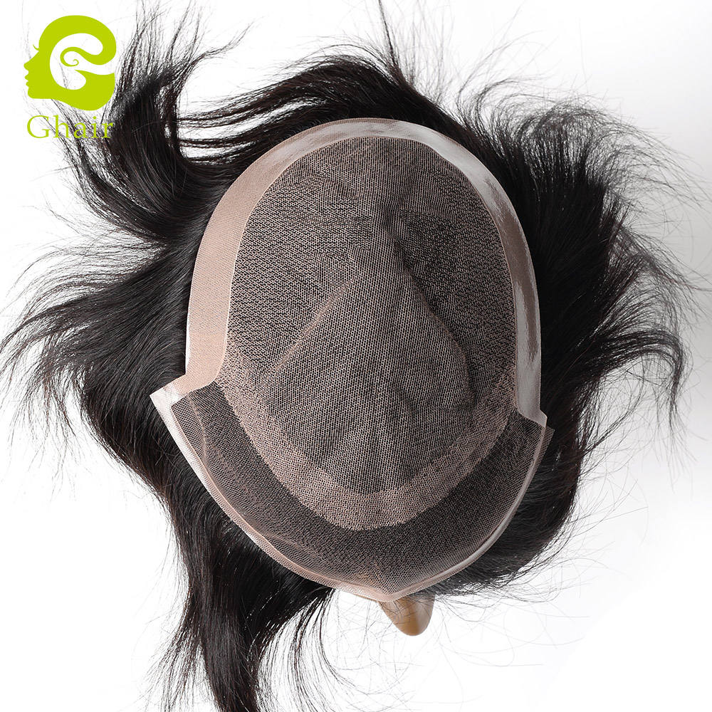 Brazilian virgin hair man toupee full lace natural hair replacement unit