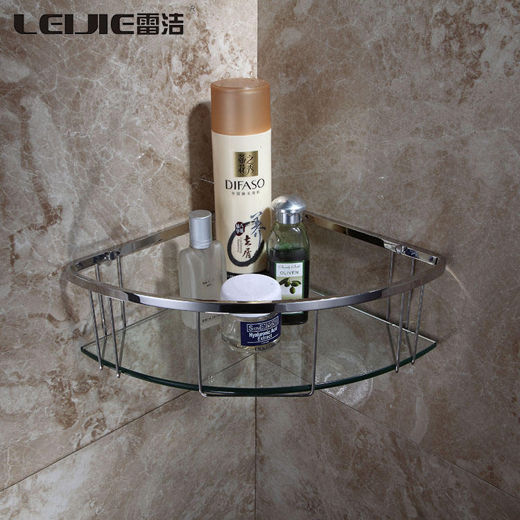 Glass Bathroom Corner Bath Shelf