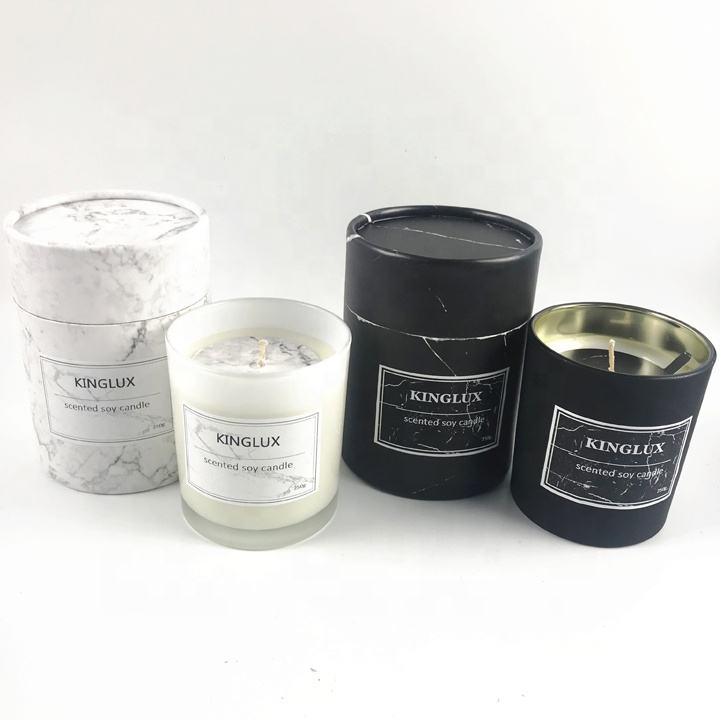 Kinglux 300ml white and Black glass jar candle container with gift box