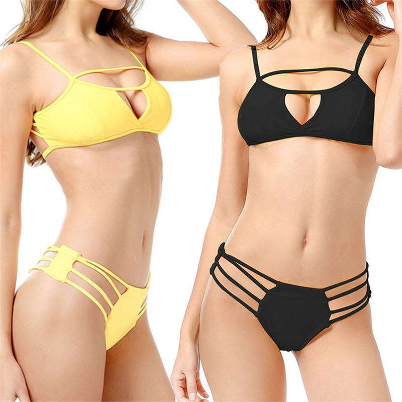 FEDEX Shipping Solid color hollowed ladies split swimsuit manufacturer