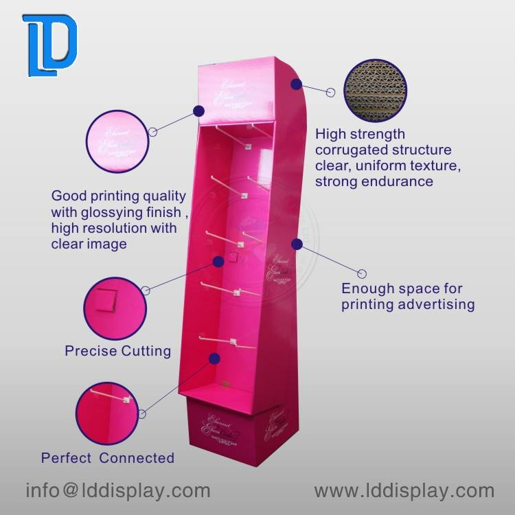 Fancy pos custom cosmetics shop make up shelf floor cardboard hanging display rack display stand with hooks