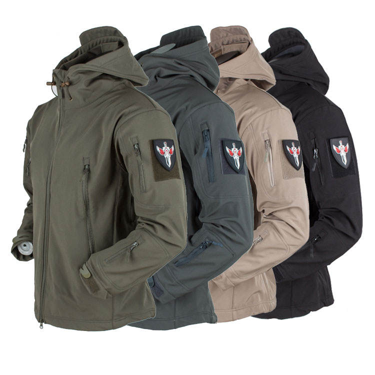 Mannen Softshell Us Army Jacket Hooded Winter Outdoor Jas Met Fleece