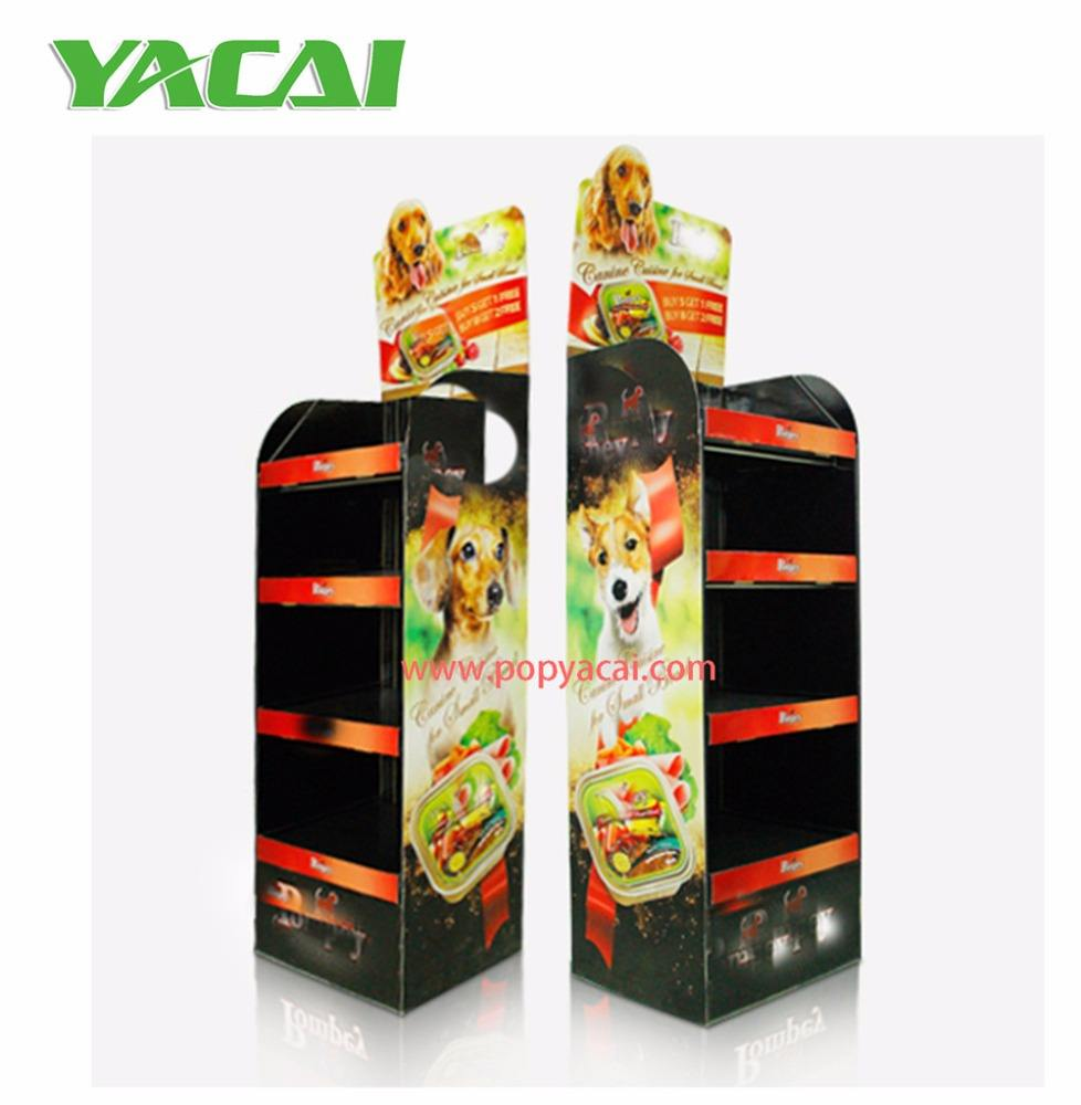 Printed promotion trade show POP up paper display stand, watch display, pet food display carton shelf