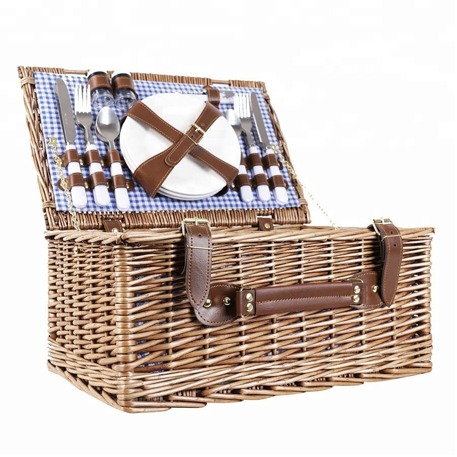 Romantic picnic time hamper basket set four person camping gift
