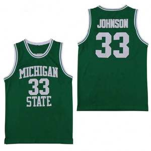 NCAA Michigan State Spartans #33 Earvin Johnson Magic LA Retro Basketball Jersey